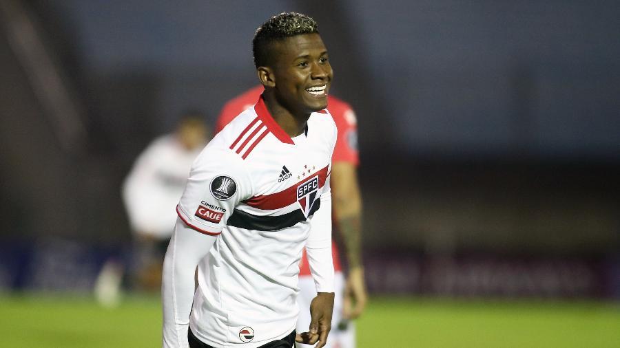 Orejuela marca em seu estreia pelo São Paulo, contra o Rentistas pela Libertadores - Ernesto Ryan/Getty Images