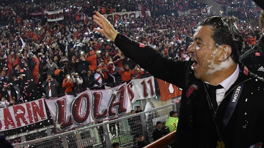 Marcelo Gallardo comemora conquista do River da Recopa de 2019 contra o Athletico Paranaense - Diego Haliasz/Getty Images