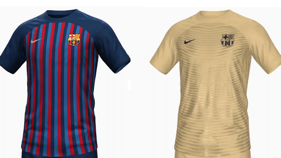 Supostas novas camisas do Barcelona para a temporada 2022-23 - Montagem sobre reprodução/FootyHeadlines.com