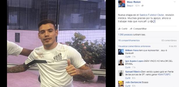 Maxi Rolon posa com a camisa do Santos: 'agora é trabalhar mais do que nunca'