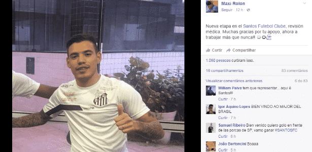 """Maxi Rolon posa com a camisa do Santos: """"agora é trabalhar mais do que nunca"""" - Reprodução/Facebook"""