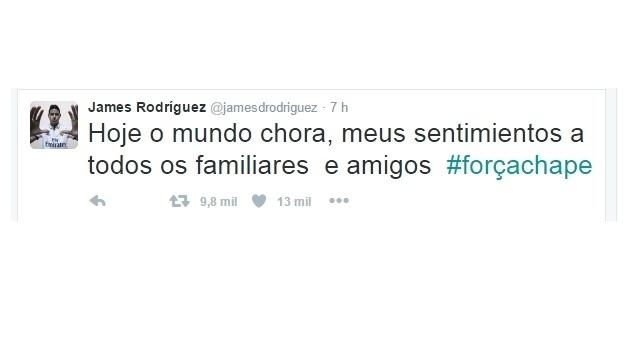 29.nov.2016 - O colombiano James Rodríguez, do Real Madrid, manifesta solidariedade às vítimas do acidente com o avião da Chapecoense