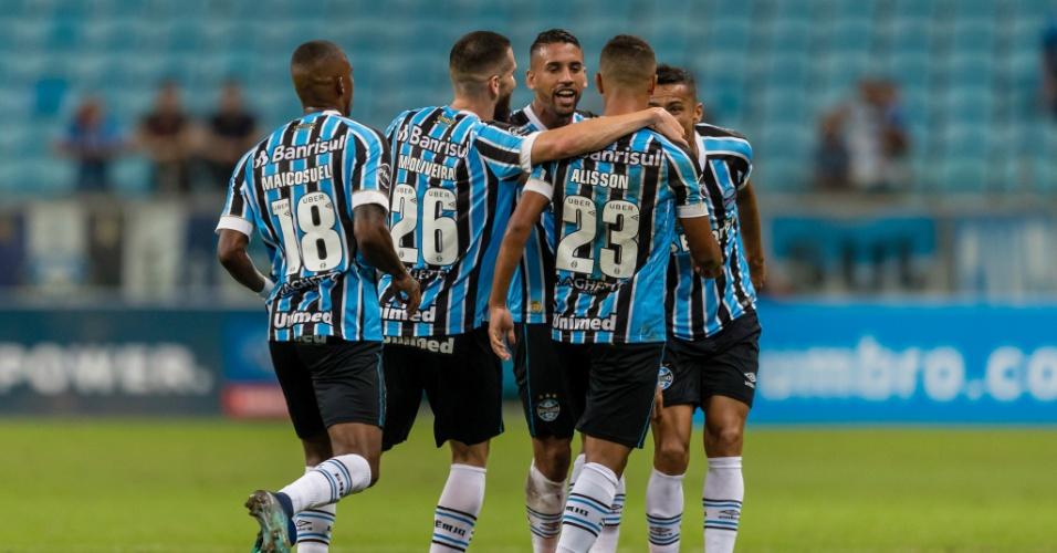 3ac5669e1e Jogadores do Grêmio comemoram gol contra o Goiás em jogo da Copa do Brasil