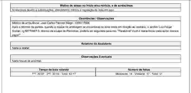 Súmula Felipão Scolari Palmeiras - Reprodução - Reprodução