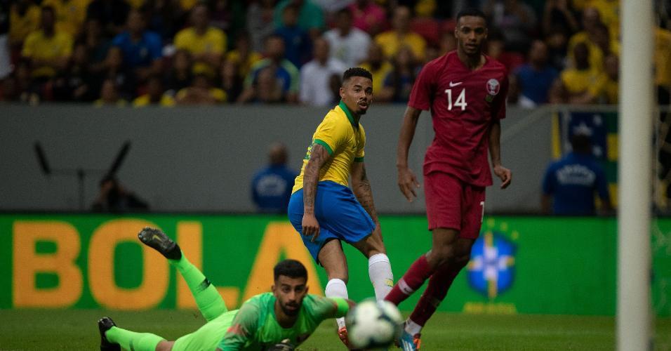 Gabriel Jesus, durante partida entre Brasil e Qatar