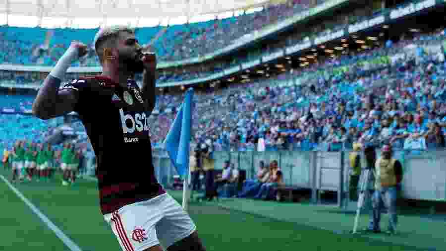 Gabigol comemora gol marcado na Arena do Grêmio - DIEGO VARA/REUTERS