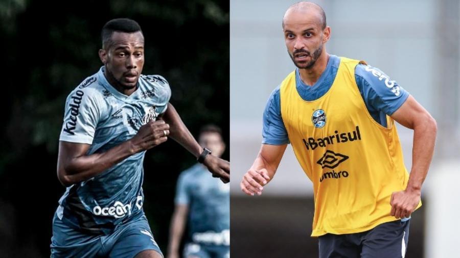 Copete, do Santos, interessava ao Cruzeiro, que mudou foco para Thaciano, do Grêmio - Ivan Storti/Santos e Lucas Uebel/Grêmio