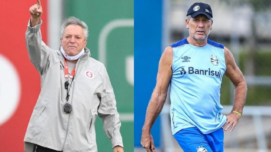 Abel Braga e Renato Gaúcho, treinadores de Inter e Grêmio, respectivamente - Ricardo Duarte/Inter e Lucas Uebel/Grêmio
