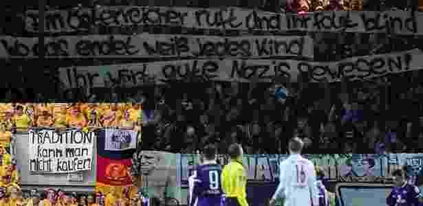 Ainda na segunda divisão, torcedores do Erzgebirge Aue comparam a origem austríaca do RB Leipzig com o nazismo ? o clube precisou se desculpar depois - Reprodução - Reprodução