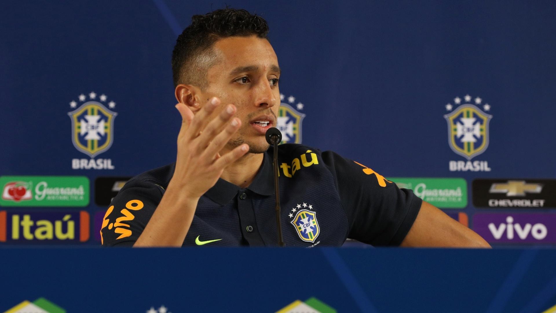 Marquinhos concedeu entrevista coletiva neste domingo na Arena Corinthians