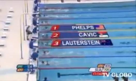 Galvão Bueno narra vitória de Phelps nas Olimpíadas de 2008