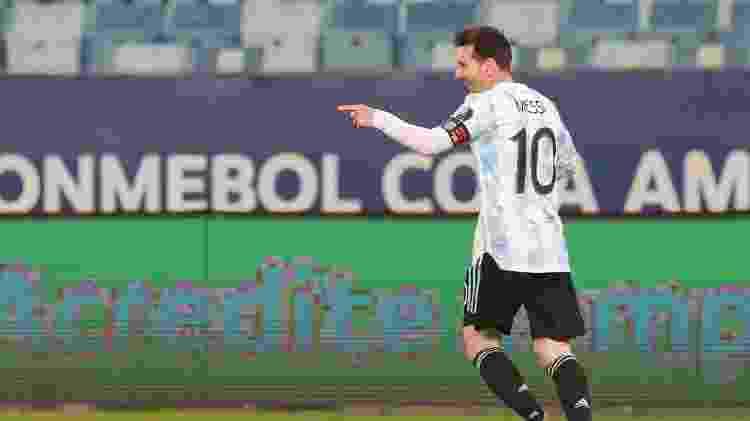 Messi comemora um de seus gols: craque causou alvoroço entre os fãs cuiabanos, mas protocolos impediram contato - Facebook da Seleção Argentina - Facebook da Seleção Argentina