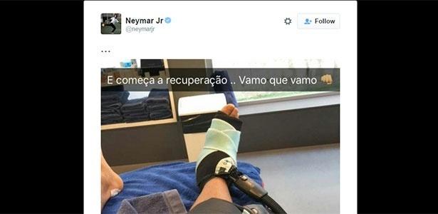 Neymar fez fisioterapia depois de jogo pela Copa do Rei - Reprodução/twitter
