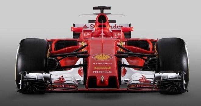 Visão frontal do carro da Ferrari para a temporada 2017 da Fórmula 1