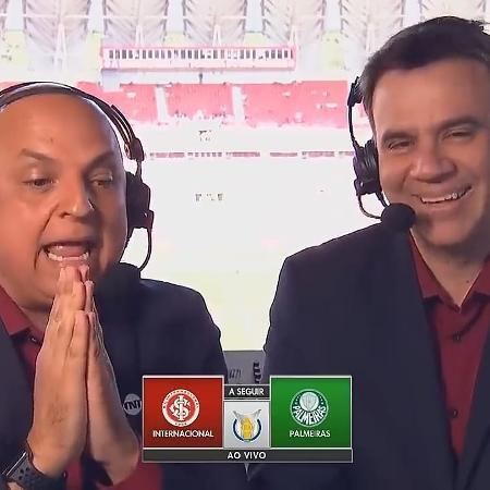 André Henning e Mauro Beting durante transmissão de Internacional e Palmeiras pelo Campeonato Brasileiro na TNT - Reprodução