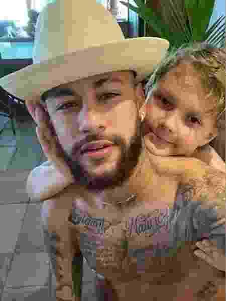Neymar e Davi Lucca; filho rebateu palavrão do pai - Reprodução/Instagram