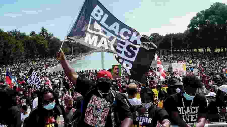 28.ago.2020 - Manifestantes fazem protesto contra o racismo em Washington, nos Estados Unidos - A. McCoy/The New York Times