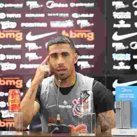 Gabriel, volante do Corinthians, durante entrevista coletiva - Rodrigo Coca/Agência Corinthians