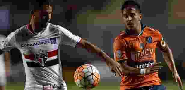Zagueiro Lucão em ação pelo São Paulo, na Libertadores - NELSON ALMEIDA / AFP - NELSON ALMEIDA / AFP