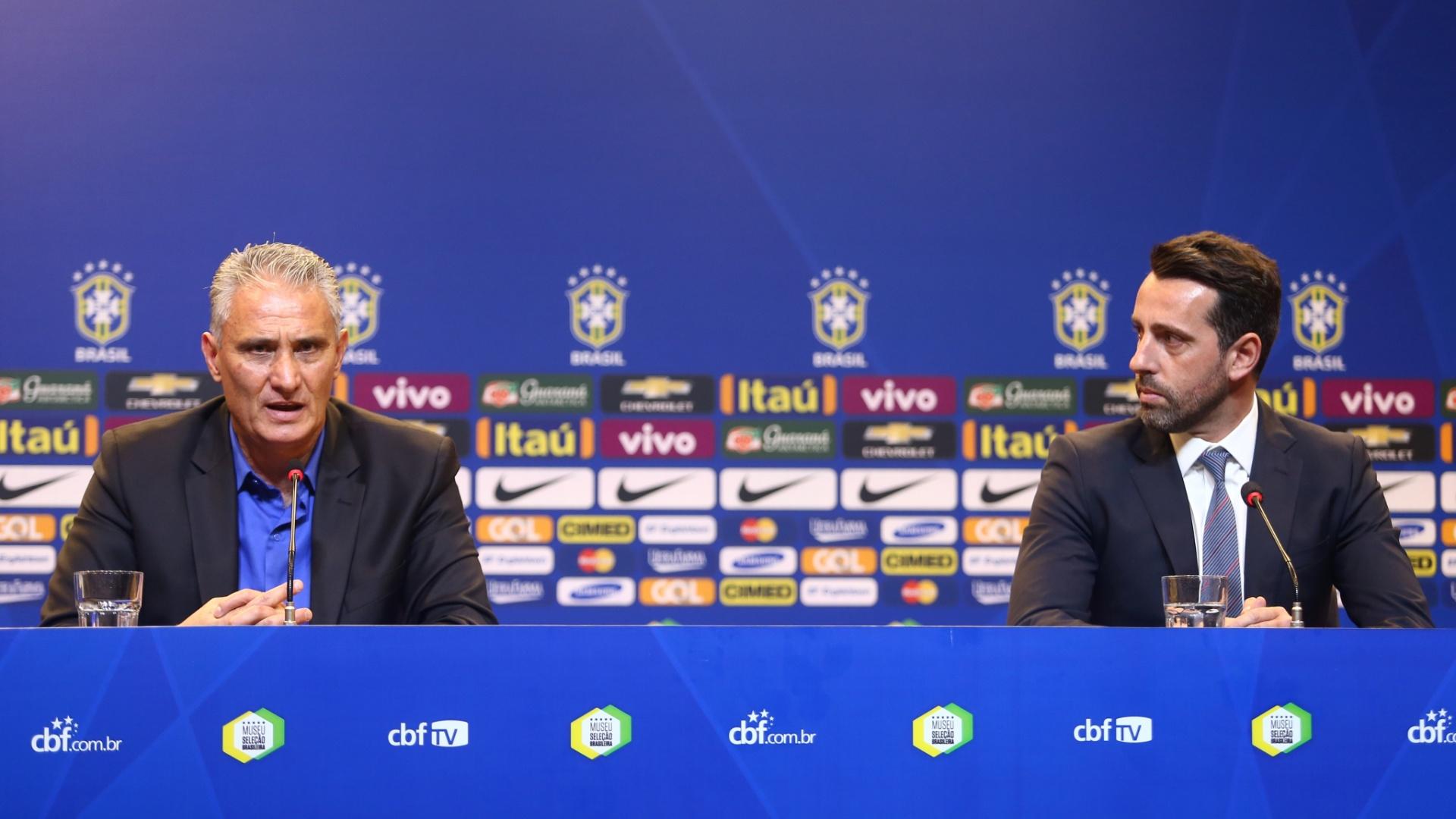 Tite e Edu Gaspar participam da entrevista coletiva de apresentação na seleção brasileira