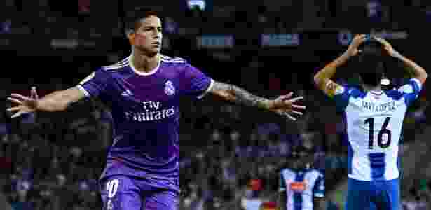 James Rodriguez comemora gol marcado pelo Real Madrid contra o Espanyol - David Ramos/Getty  - David Ramos/Getty
