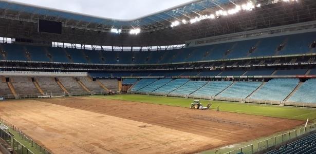 Gramado da Arena do Grêmio será trocado outra vez após seis meses e novas críticas - Reprodução