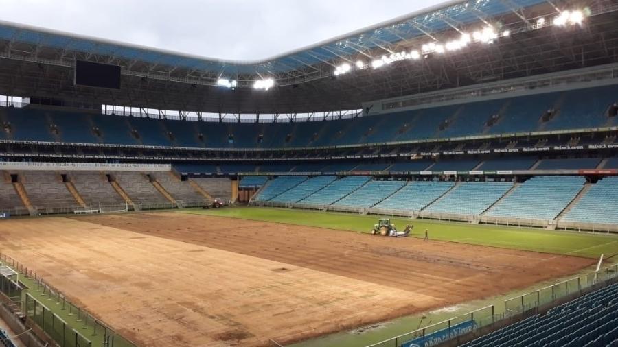 Gramado da Arena do Grêmio será trocado outra vez após seis meses e novas  críticas Imagem  Reprodução cfbaf8e3616a7