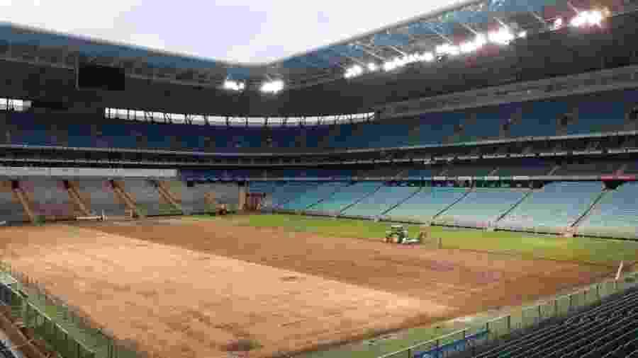 Estádio passou por troca de gramado em julho e agora tem nova mudança no solo - Reprodução