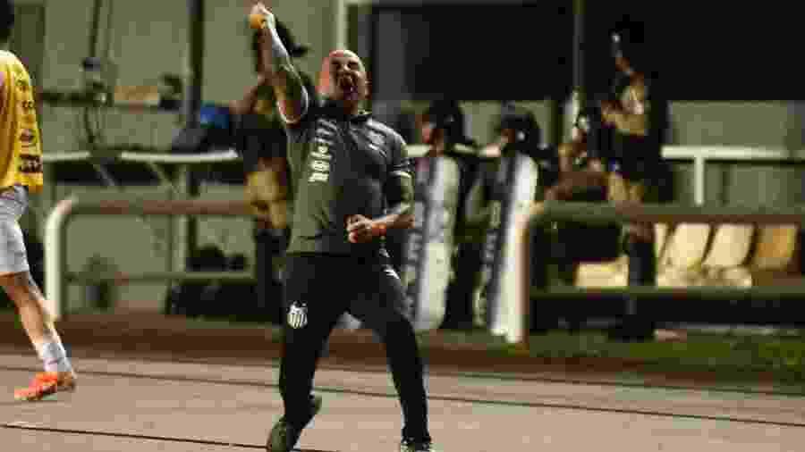 Jorge Sampaoli comemora gol da vitória do Santos sobre o Bahia - Malcon Robert/AGIF