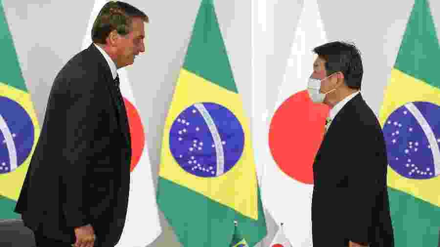 Bolsonaro em encontro com Motegi Toshimitsu, Ministro dos Negócios Estrangeiros do Japão - Marcos Corrêa/Presidência da República