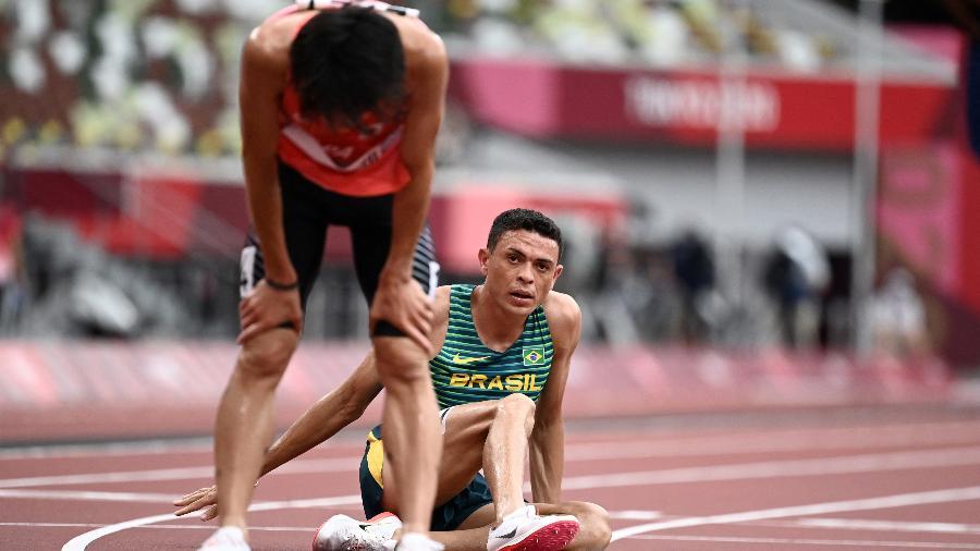 O brasileiro Altobeli Silva terminou na 9ª posição na terceira série do qualificatório dos 3000m com obstáculos masculino. - Jewel SAMAD / AFP