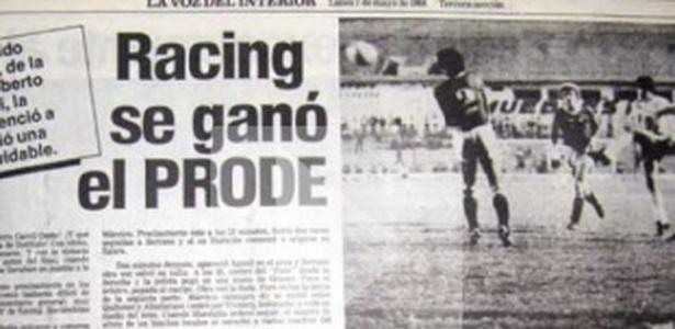 Manchete de jornal mostra vitória do Racing no Prode, a loteria esportiva argentina - Reprodução