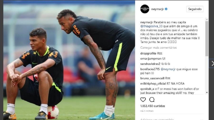 Neymar manda recado de aniversário para Thiago Silva - Reprodução/Instagram