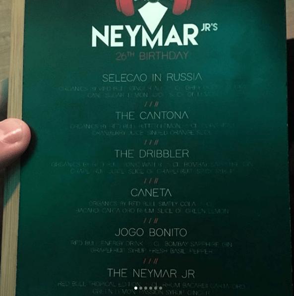 """Cardápio de bebidas traz drinks com o nome de Neymar e um chamado """"Seleção in Rússia"""""""