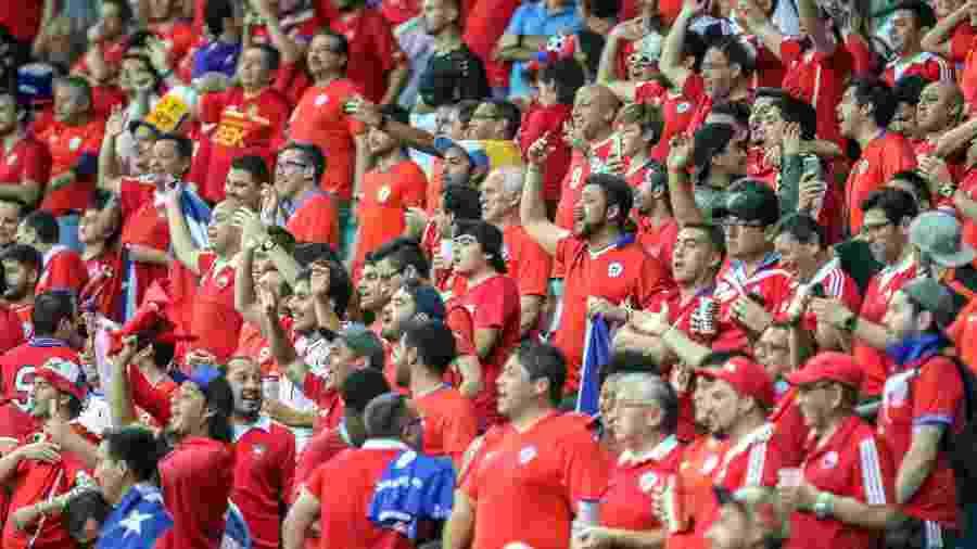 Torcida chilena em Salvador durante o jogo contra o Equador - Thiago Bernardes/CA2019.