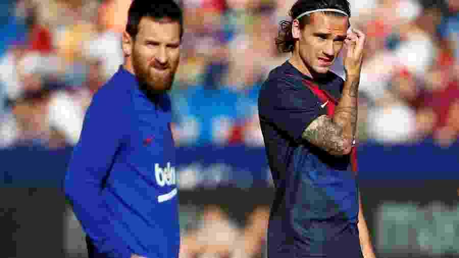 Messi e Griezman antes de jogo pelo Barcelona - Javier Barbancho/Reuters