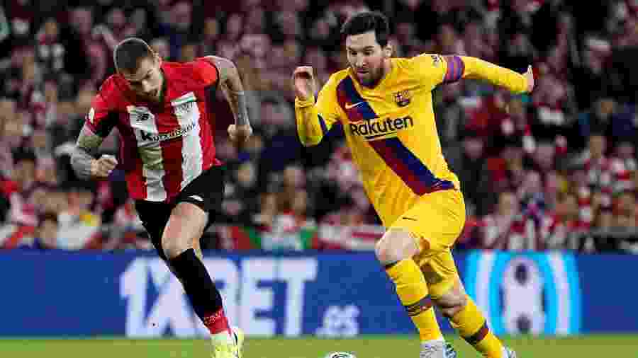 Messi, durante partida entre Barcelona e Athletic Bilbao, pela Copa do Rei - REUTERS/Vincent West