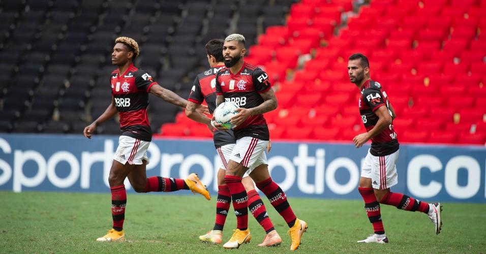 Gabigol, do Flamengo, no empate contra o Botafogo pelo Brasileirão 2020