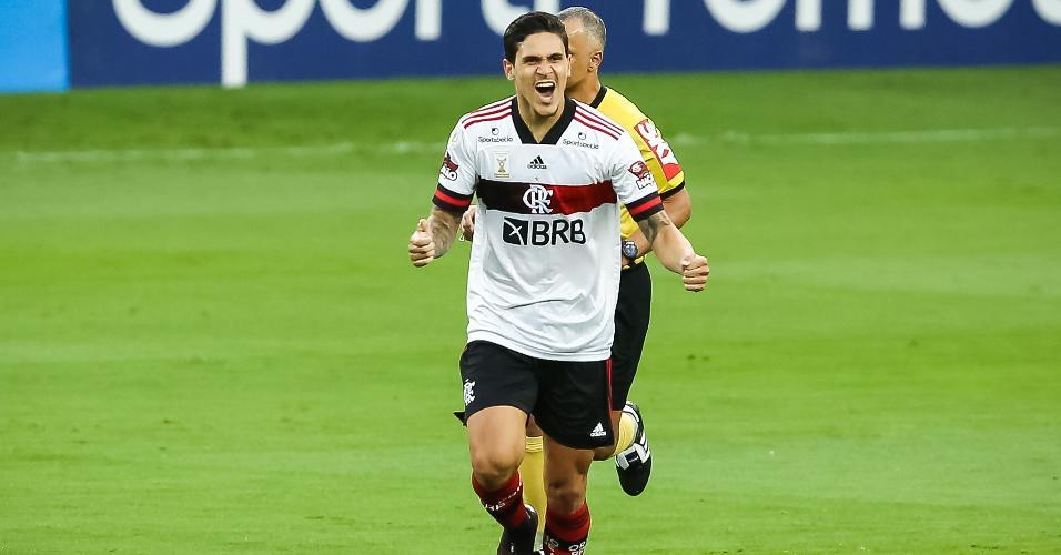 Pedro comemora o gol do Flamengo contra o Inter