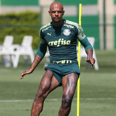 Felipe Melo, volante do Palmeiras, em treino na Academia de Futebol - Cesar Greco