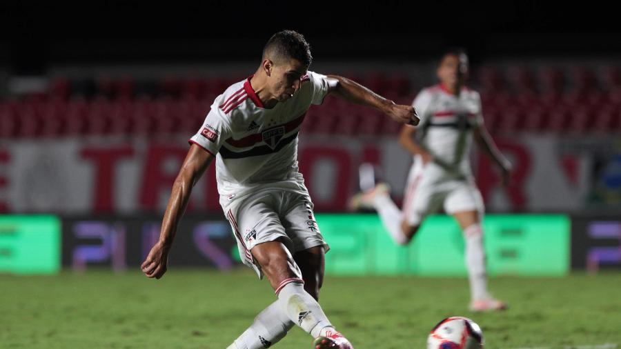 Vitor Bueno, atacante do São Paulo, deve atuar como titular diante do Rentistas (URU), pela Libertadores 2021 - Rubens Chiri / saopaulofc.net