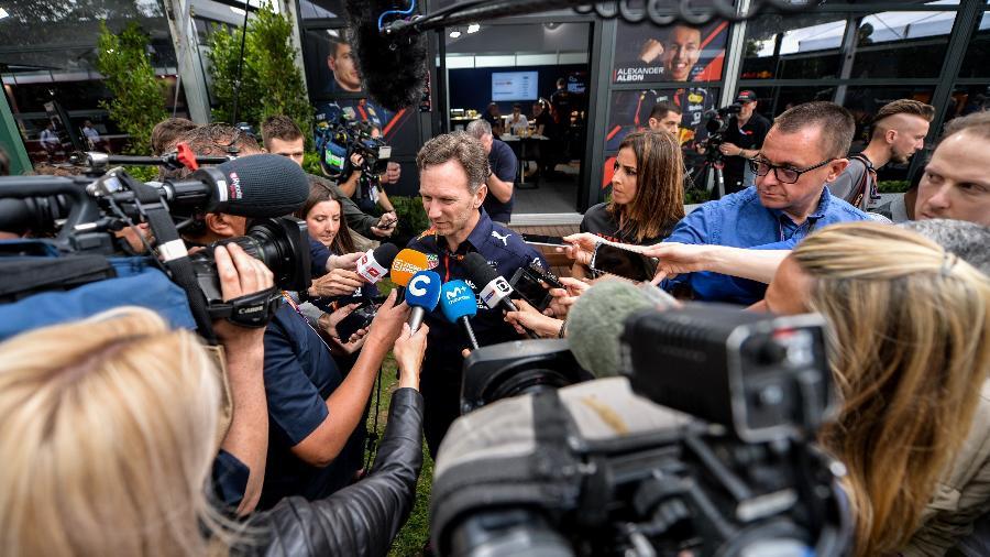 Christian Horner, chefe da Red Bull, concede entrevista - Duda Bairros/AGIF