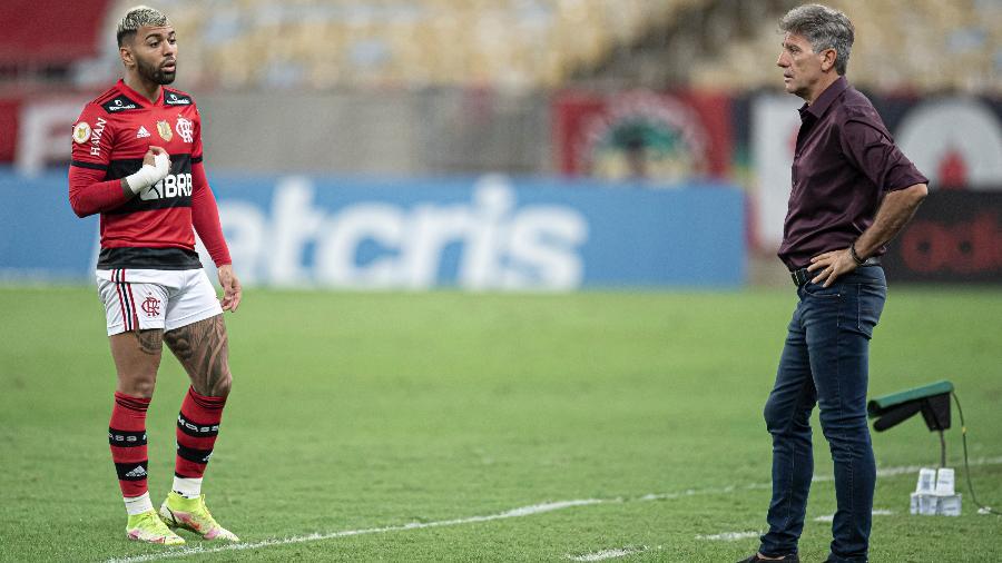 Gabigol e Renato Gaúcho durante jogo do Flamengo contra o Grêmio no Maracanã - Jorge Rodrigues/AGIF