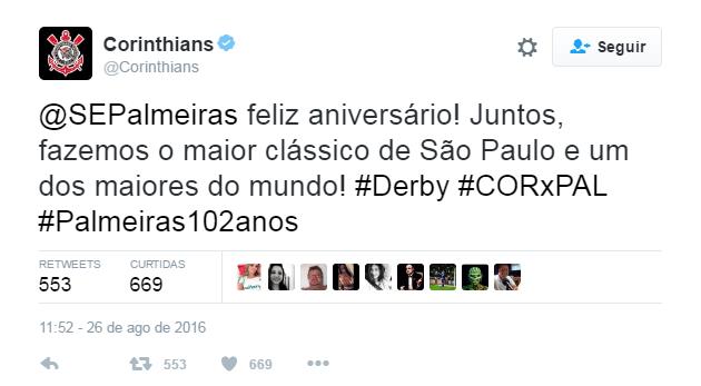 Corinthians usa redes sociais para parabenizar Palmeiras