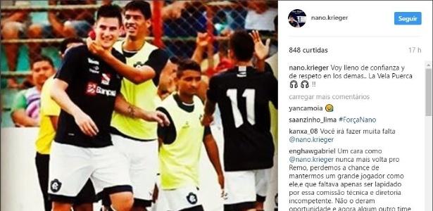 Argentino Nano Krieger marcou um gol em cinco jogos pelo Remo - Reprodução/Instagram