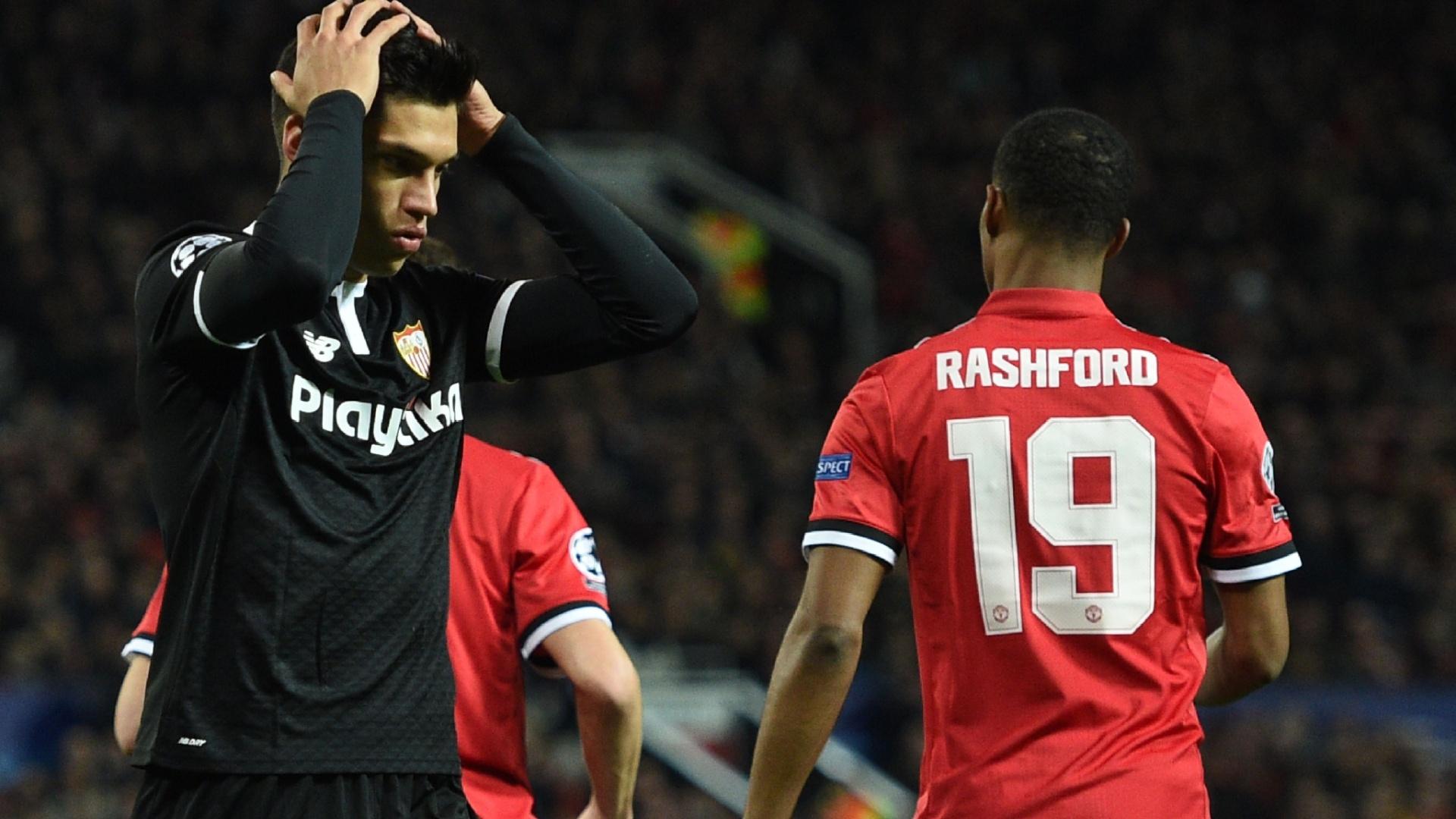 Joaquin Correa lamenta chance na partida entre Manchester United e Sevilla pela Liga dos Campeões