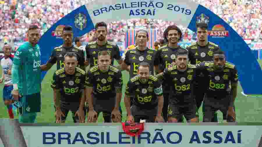 Jogadores do Flamengo posicionados para foto antes da derrota por 3 a 0 para o Bahia em jogo válido pelo Campeonato Brasileiro - Alexandre Vidal / Flamengo
