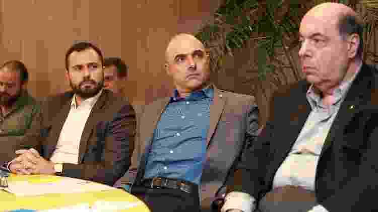 Mario Bittencourt, Maurício Galliote e Nelson Mufarrej na reunião na sede da CBF - Thais Magalhães/CBF - Thais Magalhães/CBF