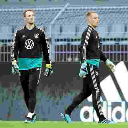 Manuel Neuer e Ter Stegen, durante treinamento da seleção da Alemanha - Christof Koepsel/Bongarts/Getty Images - Christof Koepsel/Bongarts/Getty Images