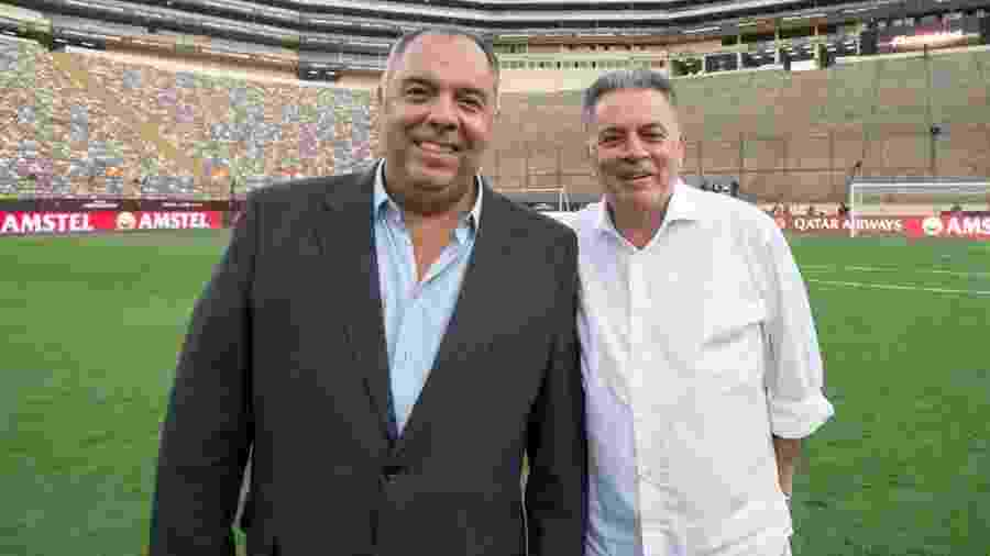 Marcos Braz, vice de Futebol do Flamengo, ao lado de Paulo Pelaipe, gerente de Futebol - Foto: Alexandre Vidal / Flamengo